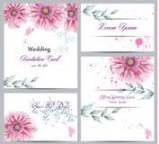 Watercolor flowers blossom card set Vector. Vintage greeting poster, wedding invitation, thank you postcard. Summer Vector Illustration