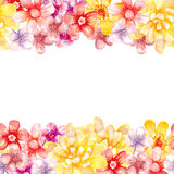 Watercolor flowers borders. Royalty Free Stock Photo