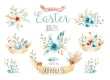 Watercolor flowers bouquets set with feathers. Watercolour color organic feather design print. Isolated illustration vector illustration
