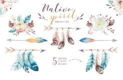 Watercolor flowers bouquets set with feathers. Watercolour color organic feather design print. Isolated illustration. Watercolor flowers bouquets set royalty free illustration