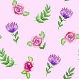 Watercolor flowers, branhces and leaves bouquets seamless pattern, hand painted on a pink vector illustration