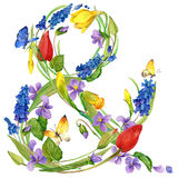 Watercolor flowers and butterfly background. Stock Photo