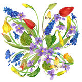 Watercolor flowers and butterfly background. Royalty Free Stock Photo