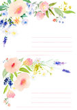 Watercolor flowers card template Stock Photography