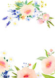 Watercolor flowers card template Stock Image