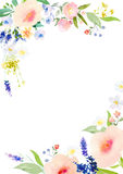 Watercolor flowers card template Royalty Free Stock Images