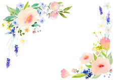 Watercolor flowers card template Stock Images