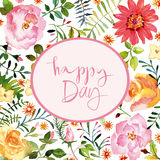 Watercolor flowers cards Stock Photo