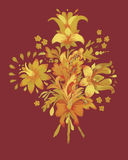Watercolor flowers in classical style on a vinous background Royalty Free Stock Image