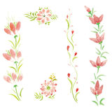 Watercolor flowers in different styles Stock Photo