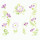 Watercolor flowers in different styles Stock Images
