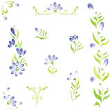 Watercolor flowers in different styles Royalty Free Stock Photography