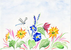 Watercolor with flowers and dragonfly Stock Image