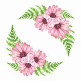 Watercolor flowers. Element for design. frame, wreath. Watercolor flowers, isolated on white background. Element for design Royalty Free Stock Photo