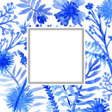 Watercolor flowers frame template card Royalty Free Stock Photos