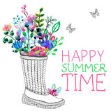 Watercolor flowers and garden rubber boots Stock Images