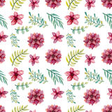 Watercolor Flowers And Green Leaves Seamless Pattern. Watercolor Red Flowers And Green Leaves Seamless Pattern Royalty Free Stock Photography
