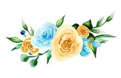 Watercolor flowers. hand painted colorful composition. Bouquet on white background Royalty Free Stock Image
