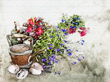 Watercolor flowers, kettle and shells Royalty Free Stock Photo