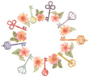 Watercolor flowers and keys, house warming design Stock Photos