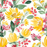 Watercolor flowers and leaf seamless summer pattern. Royalty Free Stock Images