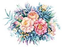 Watercolor flowers, leaves, berry, weeds arrangement. Stock Photo