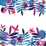 Watercolor flowers and leaves. Royalty Free Stock Photos