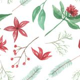 Watercolor Flowers Leaves Red Berries Seamless Repeat Pattern. Hand Painted Watercolor Winter Festive, Christmas Repeat Pattern Royalty Free Stock Images