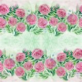 Watercolor. Flowers and leaves of roses on a watercolor background. Abstract wallpaper with floral motifs. Seamless pattern. Flower composition. Use printed royalty free stock photo