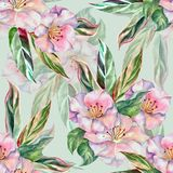 Watercolor flowers with leaves. Seamless pattern on light background. Watercolor flower light background handiwork design floral leaf seamless pattern colorful stock illustration