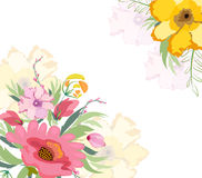 Watercolor flowers lily background Stock Images