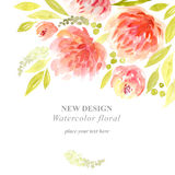 Watercolor flowers. Painting background with flowers Royalty Free Stock Images