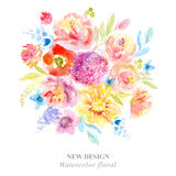 Watercolor flowers. Painting background with flowers Stock Photo