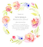 Watercolor flowers. Painting background with flowers Stock Images