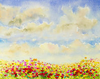 Watercolor flowers painting original  colorful of mexican diasy Stock Images