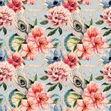 Watercolor flowers pattern Royalty Free Stock Photo