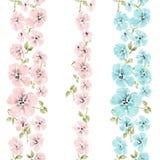 Watercolor flowers pattern Stock Photo