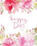 Watercolor flowers peonies card. Royalty Free Stock Image