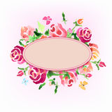 Watercolor flowers of roses with an oval in the center. Valentin Stock Photography