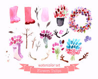 Watercolor flowers roses peonies collection Stock Photography