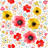 Watercolor flowers seamless pattern Royalty Free Stock Images
