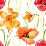 Watercolor flowers seamless pattern. Stock Photos