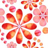 Watercolor flowers. Watercolor seamless pattern of bright summer flowers. Vector illustration Stock Photography