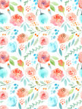 Watercolor flowers. Seamless pattern. Cute roses Stock Image