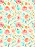 Watercolor flowers. Seamless pattern. Cute roses stock illustration