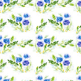 Watercolor flowers, seamless pattern. Royalty Free Stock Photos