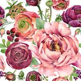 Watercolor flowers  seamless pattern. Watercolor flowers seamless pattern. hand-drawn botanical illustration. floral composition for congratulations Stock Photo