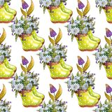 Watercolor flowers seamless pattern. Springtime. stock illustration