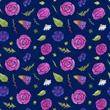 Watercolor flowers seamless pattern. Springtime. Flowers and leaves. Dark background vector illustration