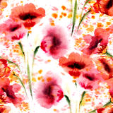Watercolor flowers seamless. Royalty Free Stock Photography